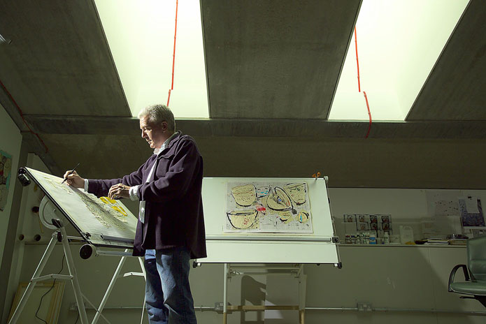 Professor Stephen Farthing, Chair of Drawing, Chelsea  College of Art & Design, University of Art & Design, at his studio in college at Millbank, 3rd June 2005. Commissioned by Jenny for THES