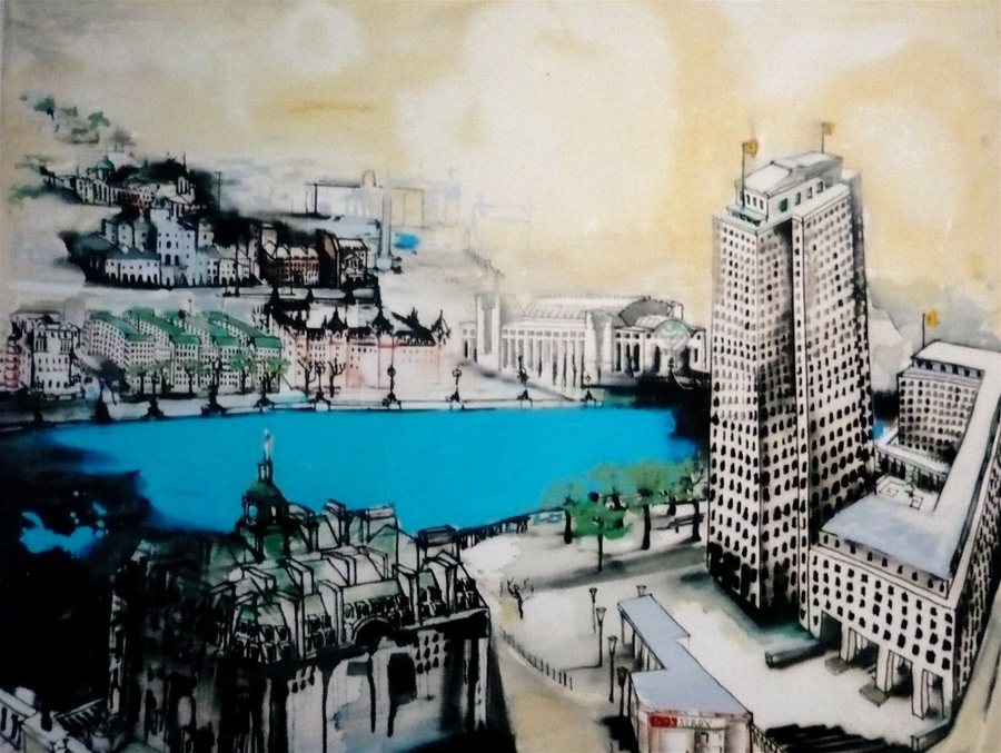 1990's The Knowledge : Southbank , 250 x 173cm , acrylic on canvas.